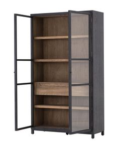 Two-tone transparency. Black drifted oak frames lighter interior shelving for subtle but striking contrast. This glass door cabinet provides great storage. Furniture, Shelves, Glass Door, Cabinet, Bookcase, Glass Cabinet, Cabinet Design, Transitional Bookcases, Shelving