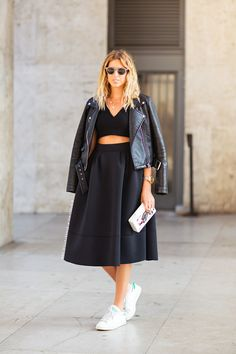 jacket and top from Zara, sneakers from Adidas, skirt from Nazezhda and sunglasses from Ralph Lauren.