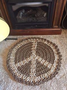 Handmade Crochet Peace Sign Rug Indoor/Outdoor Mat