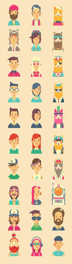 Avatars // people illustration // vector people and cats