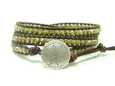 Green Picasso Luster Beaded Leather Wrap Bracelet by jlktreasures, $35.00