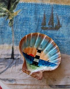 "Hand Painted 5-1/2"" Natural Scallop Shell Dish or Deco Lighthouse at Sunset"