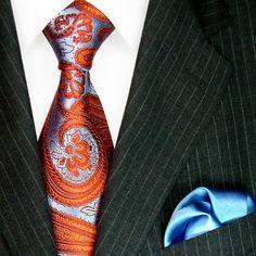 Lorenzo Cana Luxury Italian Pure Silk Woven Tie Hanky Set Blue Orange Paisley Necktie 8445701