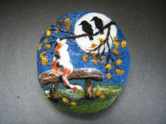 Handmade needle felted brooch 'Dilys in the Midnight Garden' by Tracey Dunn