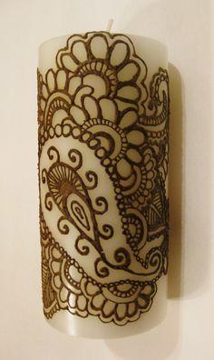 Henna on candle - DIY-able? #desi #indian #homedecor #diy
