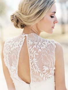 Embroidered sheer back, stunning! Photography: When He Found Her - whenhefoundher.com/ Read More: http://www.stylemepretty.com/2014/08/07/natural-spring-wedding-inspiration/