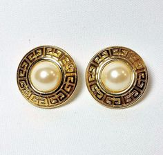 Vintage GIVENCHY Logo Signed Faux Pearl Cabochon Disc Gold Pierced Post Earrings #Givenchy #PiercedPost