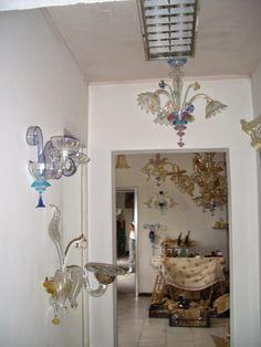 Applique in varie forme e colorazioni  in vetro di Murano