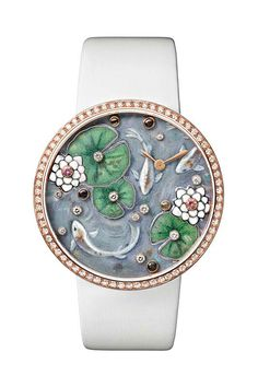 Cartier Fabuleux Frog watch with brooch removed; leaves in 18ct white gold, enamelled and set with brilliant-cut diamonds. Lotus flowers in moonstone set with pink sapphires.