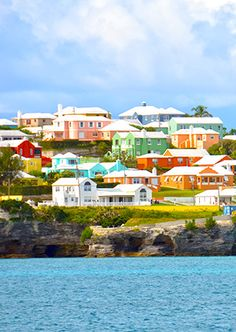 I saw these houses while on a boat tour in Bermuda. They're million-dollar homes, believe it or not. Pretty. | ✨S. B. Pinterest: Slimbaby86✨