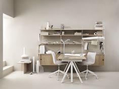 Home office inspiration⭐ Workspace Inspiration, Furniture Inspiration, Console Shelf, String Shelf, String System, Grand Menage, Adjustable Height Table, Modular Shelving, Bureau Design
