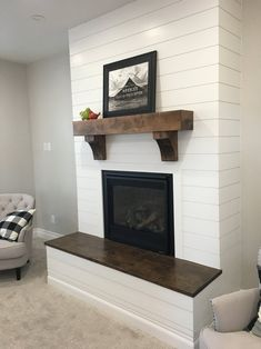 Custom Mantel with Corbels – Farmhouse Fireplace Mantels Custom Fireplace Mantels, Brick Fireplace Makeover, Wood Mantels, Fireplace Hearth, Fireplace Surrounds, Fireplace Design, Fireplace Ideas, Shiplap Fireplace, Diy Faux Fireplace