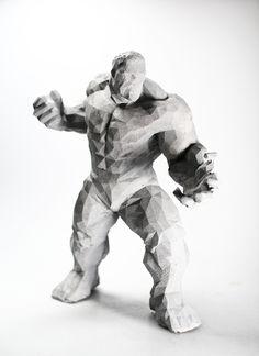 """The Incredible"" Sculpture made of concrete - Dekofigur Skulptur aus Beton - Marvel - Polygon Figur"