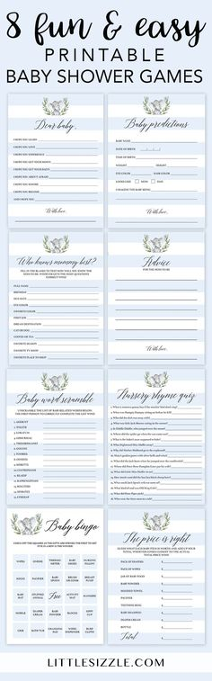 Elephant baby shower games for boys by LittleSizzle. Click through to instantly download these adorable blue elephant games for your boy baby shower. Fun and easy printable baby boy shower games to entertain large groups of guests. Baby Bingo, price is ri