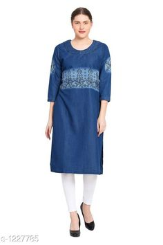 Kurtis & Kurtas Women's Floral Printed Denim Kurti Fabric: Denim Sleeves: Sleeves Are Included Size:S - 36 in M - 38 in  L - 40 in XL - 42 in XXL - 44 in 3XL - 46 in 4XL-48 in 5XL-50 in Type: Stitched Length: Up To 42 in  Description: It Has 1 Piece Of  Kurti Work: Printed Country of Origin: India Sizes Available: S, M, L, XL, XXL, XXXL, 4XL, 5XL   Catalog Rating: ★4.3 (300)  Catalog Name: Women's Printed Denim Kurtis CatalogID_154775 C74-SC1001 Code: 955-1227785-6351