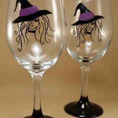 Halloween Witch Wine Glass starting at $12 Hand Painted and Dishwasher SAFE!