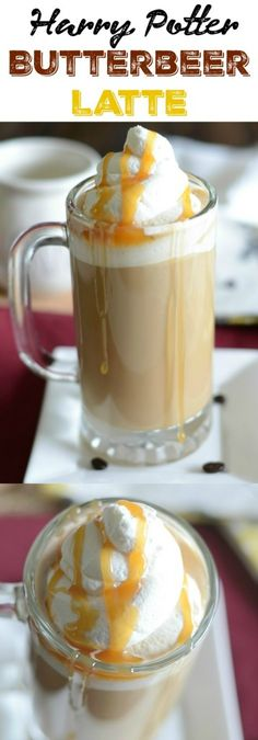 Love Harry Potter AND coffee? Make this easy butterbeer latte at home! It combines coffee or espresso with English toffee and caramel syrup! Butterbeer Latte, Butterbeer Recipe, Beer Recipes, Coffee Recipes, Drink Recipes, Easy Recipes, Copycat Recipes, Easy Desserts, Dessert Recipes