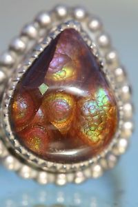 Vintage Sterling Silver Amazing Fire Agate Southwestern Navajo Style Ring   eBay