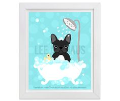 14G  Bath Art Print  Black French Bulldog in Bathtub by leearthaus