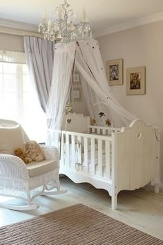 Sheer Crib Canopy - Gwyneth Paltrow's daughter's room uses a gorgeous canopy with bold colors to cover the entire bed, making it the focal point of the room. Baby Bedroom, Nursery Room, Girl Nursery, Girl Room, Kids Bedroom, White Nursery, Kids Rooms, Room Baby, Girl Bedrooms