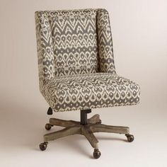 office chair fabric upholstery. with an updated wingback profile and charcoal gray ikat-patterned fabric upholstery, our comfortable office chair upholstery n