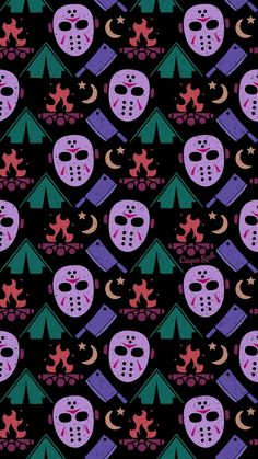 """Halloween Wallpaper Patterns Guess what day it is tomorrow? MY BIRTHDAY! Oh, and Friday the of corpes. Get ready with my new """"Camping with JV"""" pattern. Feel free to save as your phone lock screen. *For Personal Use ONLY. Halloween Horror, Halloween Art, Halloween Themes, Vintage Halloween, Halloween 2019, Halloween Wallpaper Iphone, Holiday Wallpaper, Halloween Backgrounds, Cellphone Wallpaper"""