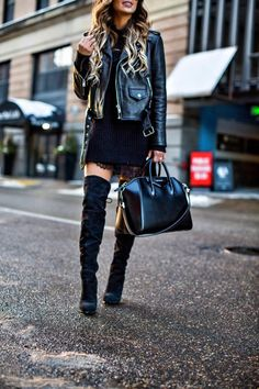 How To Rock The No-Pants Trend - Nordstrom Sweater // Topshop Lace Slipdress // Kate Spade Leather Jacket // Sam Edelman Over-The-Knee Boots // Saint Laurent Sunglasses  // Givenchy Bag // NYX Lip Lingerie in 'Beauty Mark' color January 21st, 2017 by maria