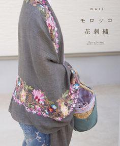 【楽天市場】【再入荷♪10月27日12時&22時より】(グレー)「mori」モロッコ花刺繍。大判ストール:cawaii