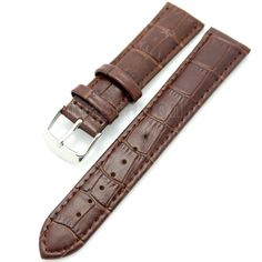 >> Click to Buy << Brown 26mm Band Width Genuine Leather Wrist Watch Band Strap Stainless Steel Buckle Mens Womens + 2 Spring Bars #Affiliate
