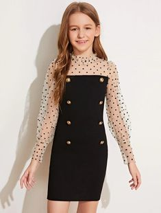 Black and White Glamorous Long Sleeve Polyester Polka Dot Bodycon Slight Stretch Spring/Fall Girls Dresses, size features are:Bust: ,Length: ,Sleeve Length:Long Sleeve Teenage Girl Outfits, Kids Outfits Girls, Cute Outfits For Kids, Cute Casual Outfits, Cute Girl Outfits, Girls Dresses Tween, Preteen Fashion, Girls Fashion Clothes, Teen Fashion Outfits