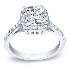 Auriya 14k Gold 1 3/4ct TDW Certified Cushion Cut Diamond Engagement Ring (H-I, VSI-VS2) (White Gold - Size 5.5), Women's