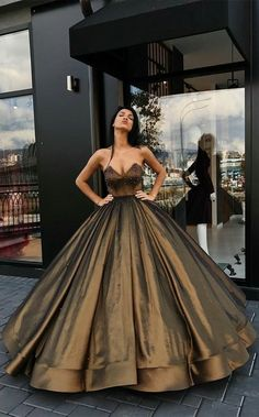 elegant ball gown sweetheart prom dress with beading, fashion ball gown brown party dress with ruched