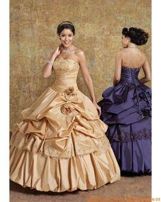 Luxuriöse klassische Abendmode Ballkleid aus Taft Perlen verziert