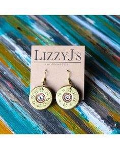 Lizzy J's - Dangle 12 gauge shotgun shell bullet earrings, no glossy finish applied to shells just as it was reclaimed.