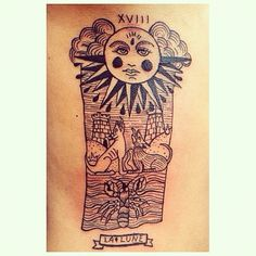 http://fyeahtattoos.com/post/90046359328/new-tattoo-moon-card-xviii-of-the-arcana Moon Card, XVIII of the Arcana Mayorfrom the Tarot Deck Done by Cope Uribe at Bogotá, Colombia.