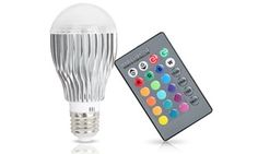 Solid-state LED light bulb can change colors and levels of brightness with the simple press of a button on the included remote