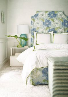 House of Turquoise: Turquoise Beds and Headboards Furniture, Floral Headboard, Room, Beautiful Bedrooms, Home, Home Bedroom, Thibaut, Bedroom Decor, Interior Design