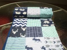 Baby quilt-Deer Baby quilt-baby boy bedding-baby by happyquilts