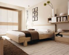 Inspiring Warm Bedroom Decorating Ideas by Huelsta : Modern Bedroom Design By Huelsta With Brown And White Bed Pillow Blanket Wool Carpet Wooden Furniture Cupboard And Wall Decoration Japanese Style Bedroom, Modern Bedroom Decor, Warm Bedroom, Beige Room, Bedroom Interior, Bedroom Inspirations, Bedroom Decorating Tips, Bedroom Design Inspiration, Modern Bedroom