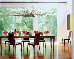 , Exquisite Modern Dining Room With Long Wooden Dining Table Also Modern Chairs Design Also Cool And Unique Branch Chandelier Design Also Modern Windows Also Shiny Brown Laminate Floor Also Flowers Ornament: Light Up the Room with Beautiful Branch Chandelier!