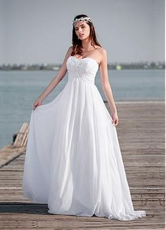 Buy discount Elegant Chiffon Sweetheart Neckline A-line Wedding Dresses With Beaded Lace Appliques at Dressilyme.com