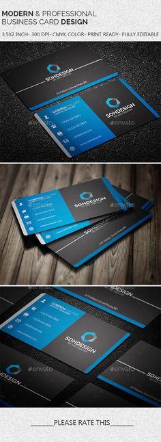 Modern & Professional Business Card Template #design Download: http://graphicriver.net/item/modern-professional-business-card-template/11395945?ref=ksioks