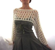 Cotton summer cropped sweater shrug, in ivory color, handknitted, eco-friendly, loose knit pullover : Elegant hand knitted summer cropped lace sweater / sweater in ivory color. It is knitted with high quality cotton-acrylic yarn that Cropped Pullover, Cropped Sweater, Pullover Pullover, Knitting Pullover, Knitting Sweaters, Crochet Shawl, Knit Crochet, Crochet Pattern, Crochet Shrugs