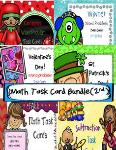 Math Task Card Bundle for Second Grade. 6 sets of task cards, a total of 120 Task Cards with lots of word problems. Each set of task cards is in color and contains 20 different task cards, a student recording sheet, and an answer key.This bundle contains the following sets:Fall Math Task Cards  Rockstar Subtraction Task CardsChristmas Word Problem Task Cards  Winter Word Problem Task Cards  Valentine's Day Word Problem Task Cards 2nd grade  st.