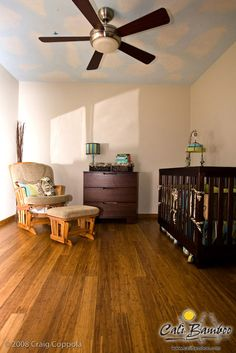 Distressed java bamboo flooring for the nursery