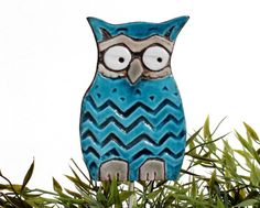 Eule Garten-Kunst - Werk Stake - Garten Dekor - Eule Ornament - Keramik Eule - große - blaugrün