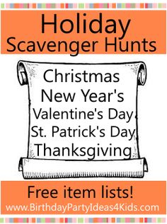 Holiday scavenger hunt lists for Christmas, New Years Eve, Valentine's Day, St. Patrick's Day, Easter and more! Free item lists to print out. Scavenger Hunt List, Scavenger Hunt Clues, Holiday Games, Holiday Fun, Family Holiday, Thanksgiving Crafts, Holiday Crafts, New Years Eve 2017, Christmas Scavenger Hunt