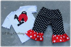 Custom Boutique Clothing  Lady Bug Personalized Tee and Polka Dot  Capris on Etsy, $42.00