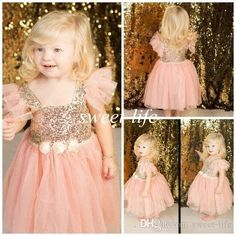Lovely Cute Blush Flower Girl Dresses A-Line Tutu Cap Sleeves Rose Gold Sequins Tea Length 2016 Girls Pageant Dresses Gowns for Wedding Kids Online with $64.69/Piece on Sweet-life's Store | DHgate.com