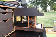 Maleteros extraíbles (bandeja, bastidor, cajón...). Mogollón de fotos. - Página 825 T5 California, Camping Box, Van Camping, Mini Camper, Camper Van, T5 Kombi, Berlingo Camper, Peugeot, Camper Kitchen